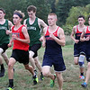 Billerica hosts cross country meet with Tewksbury and North Andover, at Vietnam Veterans Park. From left, Shawn Stairs of Billerica, Jack Bicksler of North Andover, Jacob Loftin of Billerica, and Alec Hirtle, Pat Carleton,  and Joey Forest of Tewksbury, in the middle of the race. (SUN/Julia Malakie)