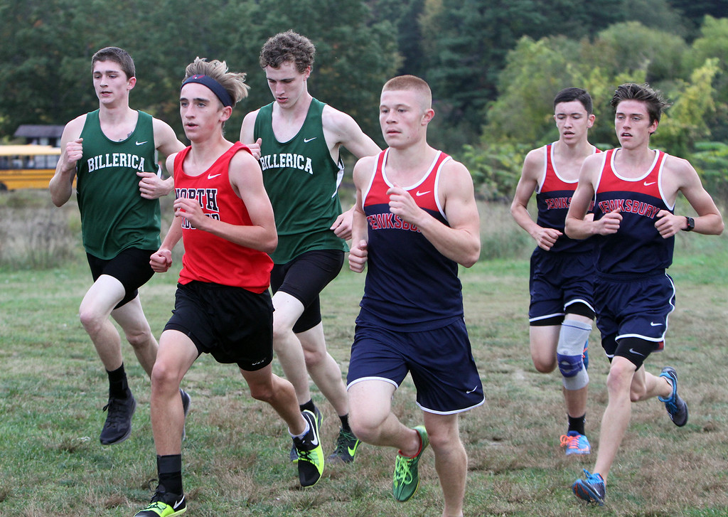 . Billerica hosts cross country meet with Tewksbury and North Andover, at Vietnam Veterans Park. From left, Shawn Stairs of Billerica, Jack Bicksler of North Andover, Jacob Loftin of Billerica, and Alec Hirtle, Pat Carleton,  and Joey Forest of Tewksbury, in the middle of the race. (SUN/Julia Malakie)