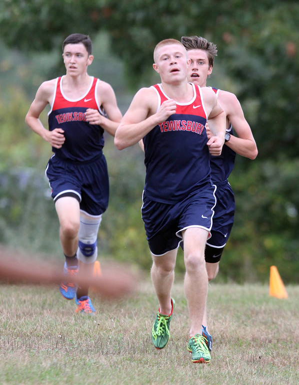 . Billerica hosts cross country meet with Tewksbury and North Andover, at Vietnam Veterans Park. Approaching finish line, Tewksbury\'s Alec Hirtle (2nd place), center, Pat Carleton (4th), left, and Joey Forest (3rd), right.(SUN/Julia Malakie)