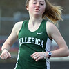 Billerica vs Tewksbury track & field. Billerica's Hannah Doherty in girls 2 Mile, which she won. (SUN/Julia Malakie)