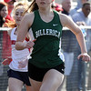 Billerica vs Tewksbury track & field. Billerica's Olivia Cameron wins girls 100. (SUN/Julia Malakie)