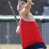 Billerica vs Tewksbury track & field. Tewksbury's Lucas Frost competes in javelin.  (SUN/Julia Malakie)