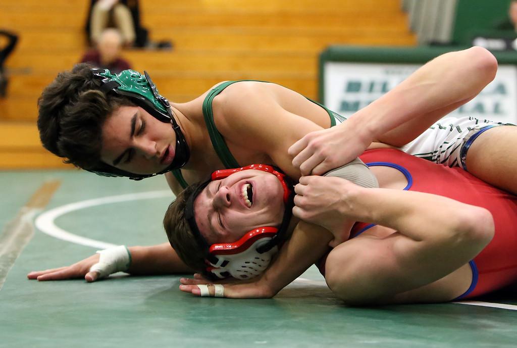 . Billerica vs Tewksbury wrestling. Gavin Mancini of Billerica, top, vs Colin Bozek of Tewksbury in 152 lbs, Mancini WBF. (SUN/Julia Malakie)