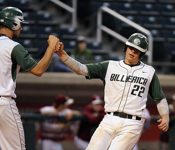 Lowell vs Billerica in finals of Spinners Cub baseball.  Billerica's Scott Murphy scores on a double by Kyle Cortese in the top of the third inning. At left is on deck batter Josh Bradanese. (SUN/Julia Malakie)