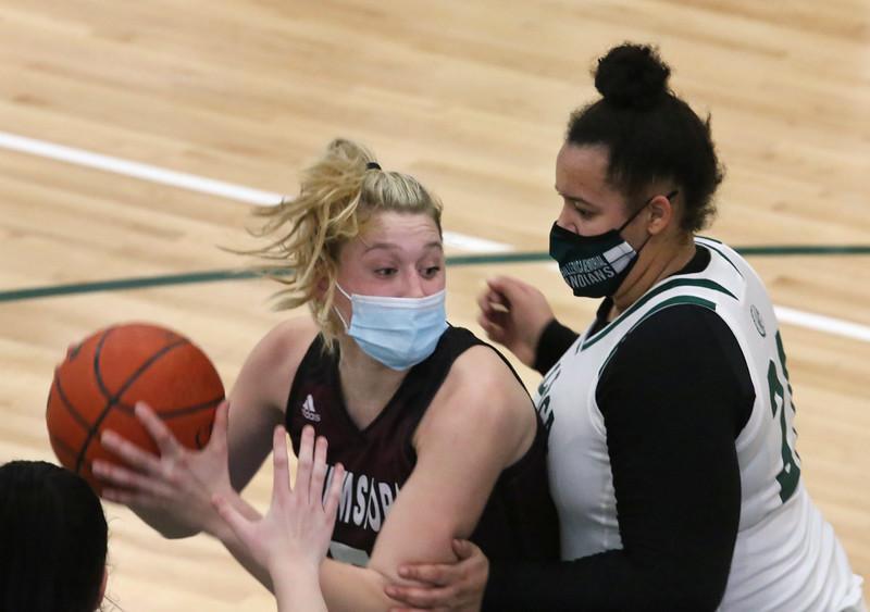 Billerica vs Chelmsford girls basketball. Chelmsford's Kate Krueger (5) and Billerica's Madison Watford (21).  (SUN/Julia Malakie)