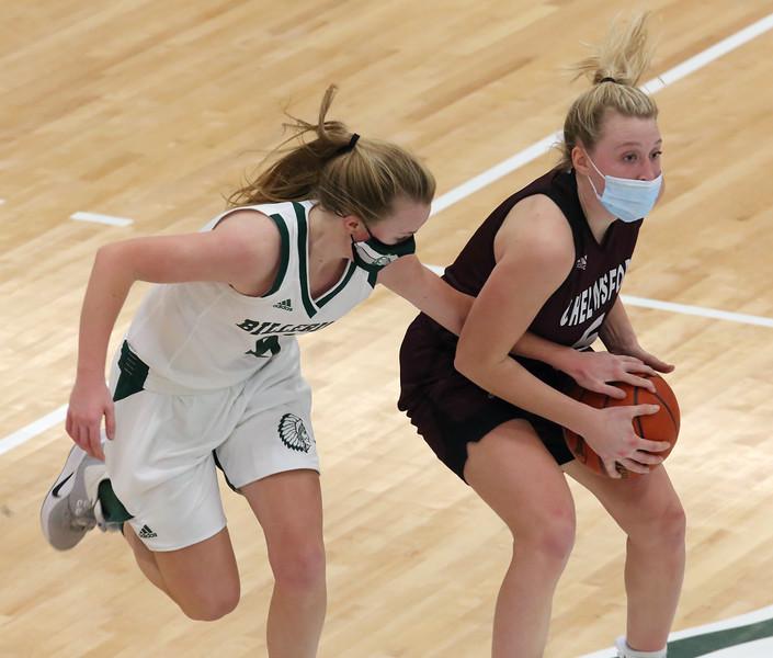 Billerica vs Chelmsford girls basketball. Billerica's Haley Slaney (5) and Chelmsford's Kate Krueger (5). (SUN/Julia Malakie)