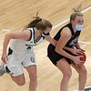 Billerica vs Chelmsford girls basketball. Billerica's Haley Slaney (5) and Chelmsford's Kate Krueger (5). (SUN/Julia Malakie)