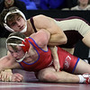 Wrestling: finals of Bossi Lowell Holiday Tournament. Kyle Gora of Alvirne, top, and Blake Hiltz of Tewksbury compete for 3rd place in 160 lbs. Gora won, 11-9. (SUN/Julia Malakie)