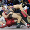 Wrestling: finals of Bossi Lowell Holiday Tournament. Braden Hiltz of Tewksbury, left, and Luke Donovan of Westford Academy compete for 5th place in 152 lbs, won by Hiltz, 3-2. (SUN/Julia Malakie)
