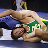 Day 2 of George Bossi Lowell Holiday Wrestling Tournament. Jesse Brochu of Bishop Guertin, right, won 5-4 over Alex Fracassa of Franklin in 145 lb Consolation of 8 #2 round.  (SUN/Julia Malakie)
