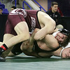 Day 2 of George Bossi Lowell Holiday Wrestling Tournament. Evan Kinney of Chelmsford, top, won by pin over Sam Wagner of Concord (NH) in 113 lb semifinal.  (SUN/Julia Malakie)