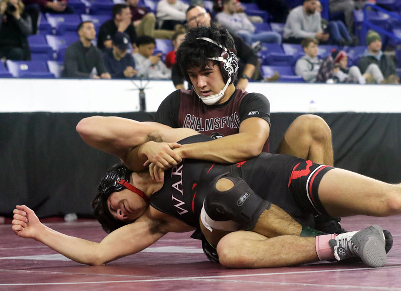 Day 2 of George Bossi Lowell Holiday Wrestling Tournament. Evan Goodall of Chelmsford won 2-1 over Cole Shaughnessy of Fairfield Warde in 152 lb semifinal.  (SUN/Julia Malakie)