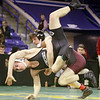 Day 2 of George Bossi Lowell Holiday Wrestling Tournament. Evan Kinney of Chelmsford won by pin over Sam Wagner of Concord (NH) in 113 lb semifinal.  (SUN/Julia Malakie)