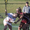 Chelmsford vs Groton-Dunstable girls lacrosse.  Chelmsford's Sarah Lachance (3) and Groton-Dunstable's Hannah Erickson (23). (SUN/Julia Malakie)