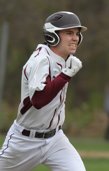 Chelmsford vs Haverhill baseball. Chelmsford's Andrew Cloutier (10) runs out a ground ball out in the bottom of the third inning. (SUN/Julia Malakie)