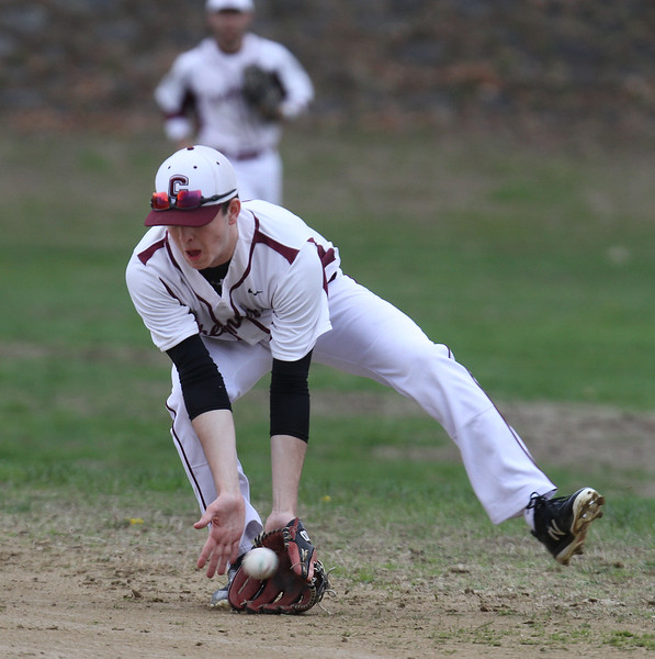 Chelmsford vs Haverhill baseball. Chelmsford second baseman Michael Connor fields a ground ball for an out in the top of the third inning. (SUN/Julia Malakie)