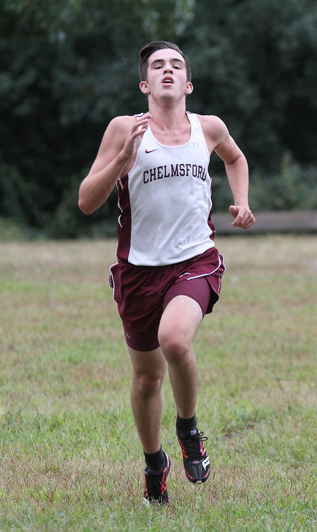 . Chelmsford vs Haverhill cross country. Drew Madsen of Chelmsford, finishing 3rd overall. (SUN/Julia Malakie)
