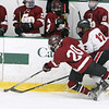 Fitchburg/Monty Tech vs Groton-Dunstable boys hockey. Groton-Dunstable's Nate Glencross (20) and Fitchburg/Monty Tech's Max Beaulac (12). (SUN/Julia Malakie)