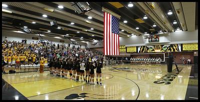 Gilbert High School Girls Volleybal vs Basha Pregame Flag 9-3-13