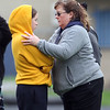 Greater Lowell, Notre Dame Academy & Northeast Tech track meet. Greater Lowell's Samantha Barnes with her mom Jada Barnes during discus competition.  (SUN/Julia Malakie)