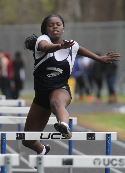 Greater Lowell, Notre Dame Academy & Northeast Tech track meet. Greater Lowell's Makany Camara, who won 100M Hurdles. (SUN/Julia Malakie)