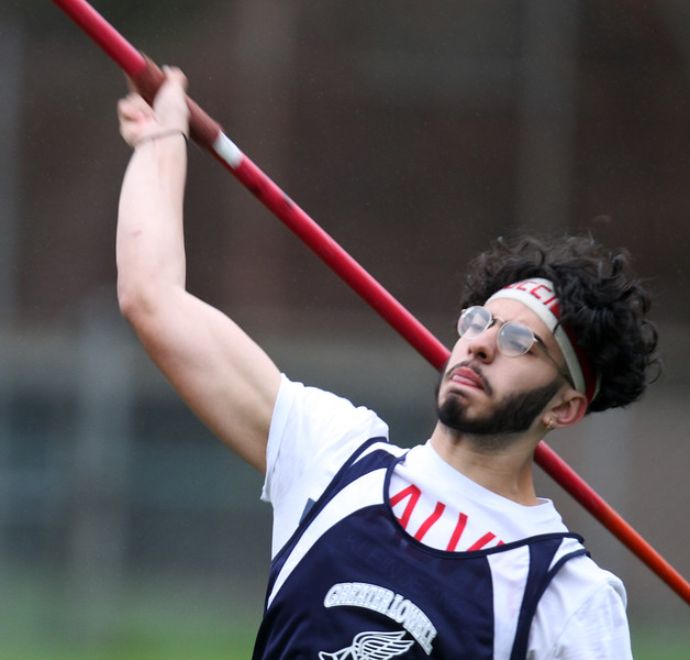 Greater Lowell, Notre Dame Academy & Northeast Tech track meet. Greater Lowell's Anthony Akl in Javelin. (SUN/Julia Malakie)