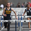 Greater Lowell, Notre Dame Academy & Northeast Tech track meet. NDA's Rachel Deshaies, left, and Greater Lowell's Elizabeth Phan in 100M Hurdles. (SUN/Julia Malakie)