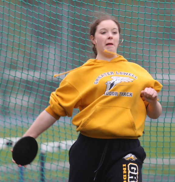 Greater Lowell, Notre Dame Academy & Northeast Tech track meet. Greater Lowell's Samantha Barnes in Discus. (SUN/Julia Malakie)
