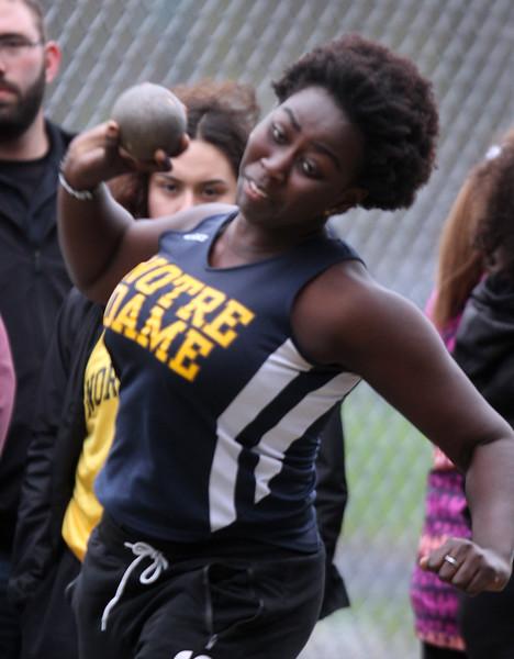 Greater Lowell, Notre Dame Academy & Northeast Tech track meet. NDA's Julianna Muiruri in Shot Put.  (SUN/Julia Malakie)