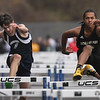 Greater Lowell, Notre Dame Academy & Northeast Tech track meet. Greater Lowell's Joseph Troche, left, and Northeast Tech's Tyrese Jones in boys 100M Hurdles. (SUN/Julia Malakie)