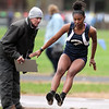 Greater Lowell, Notre Dame Academy & Northeast Tech track meet. A'myaha Johnson of Greater Lowell in Long Jump.  (SUN/Julia Malakie)