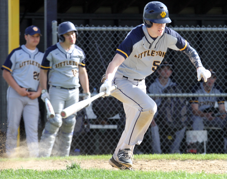 Littleton vs Bromfield baseball. Littleton's Evan Lyons (5) heads for first on a sacrifice bunt which batted in a run in the bottom of the fifth inning. (SUN/Julia Malakie)