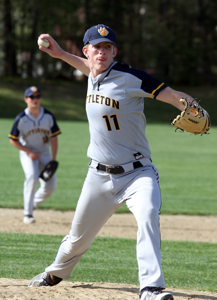 Littleton vs Bromfield baseball. Littleton pitcher Mitch Crory (11). (SUN/Julia Malakie)