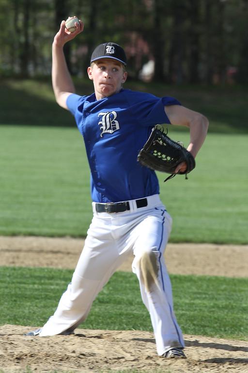 . Littleton vs Bromfield baseball. Bromfield pitcher Rory VanDorpe (21). (SUN/Julia Malakie)