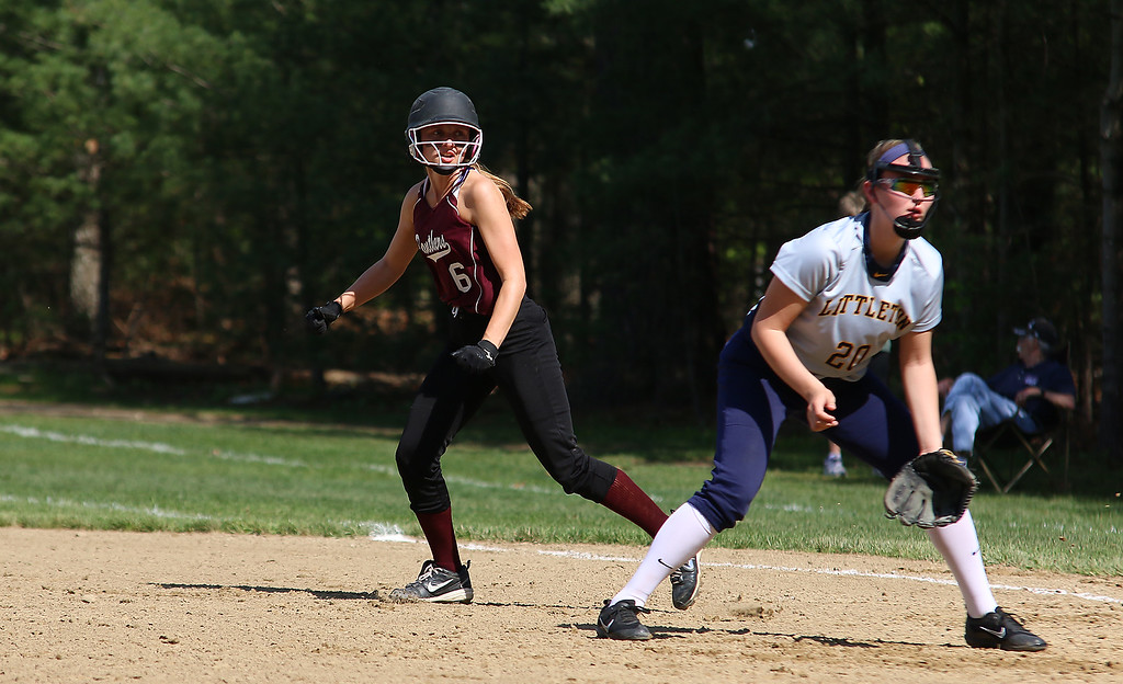 . Littleton High School softball played Ayer Shirley Regional High School on Wednesday, May 17, 2017. ASRHS player Molly Cadogan leads off first during action in the game. SUN/JOHN LOVE