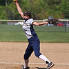 Littleton High School softball played Ayer Shirley Regional High School on Wednesday, May 17, 2017. LHS pitcher Abby Raymond winds up to deliver a pitch during action in the game. SUN/JOHN LOVE