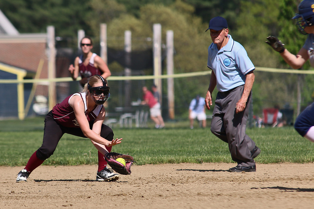 . Littleton High School softball played Ayer Shirley Regional High School on Wednesday, May 17, 2017. ASHS player Shannon Mountford gets get to stop a ground ball during action in the game. SUN/JOHN LOVE