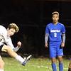 Littleton vs Bromfield boys soccer in MIAA Central Mass Division 4 championship. Littleton's Jason Frisoli (3), and Bromfield's Tom Khuu (2) and Marcos Lora (21).  (SUN/Julia Malakie)