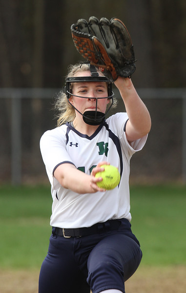 Innovation Academy Charter School vs Lowell Catholic softball. Lowell Catholic pitcher Brenna Riley (19). (SUN/Julia Malakie)