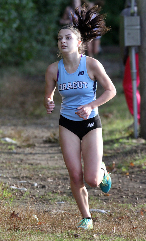 . Lowell, Dracut & Andover cross country. Nikki Andersson of Dracut, who finished 2nd overall. (SUN/Julia Malakie)