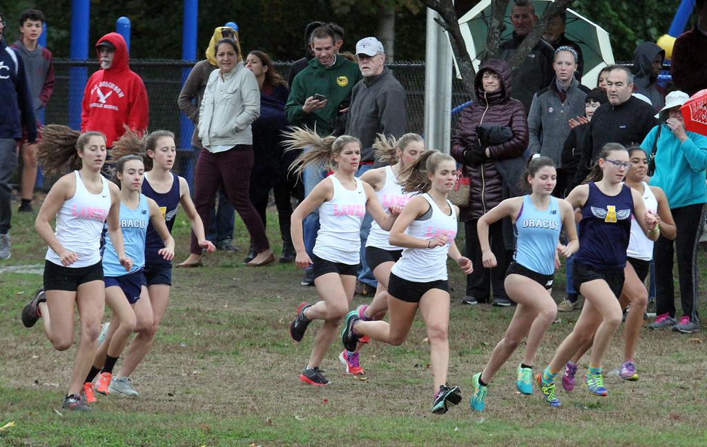 . Lowell, Dracut & Andover cross country. Start of girls race. (SUN/Julia Malakie)