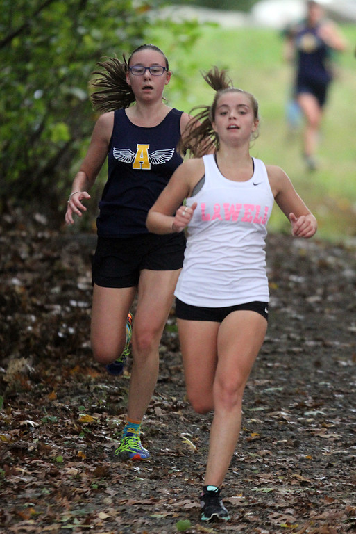 . Lowell, Dracut & Andover cross country. Andover runner who finished 2nd overall. (SUN/Julia Malakie)
