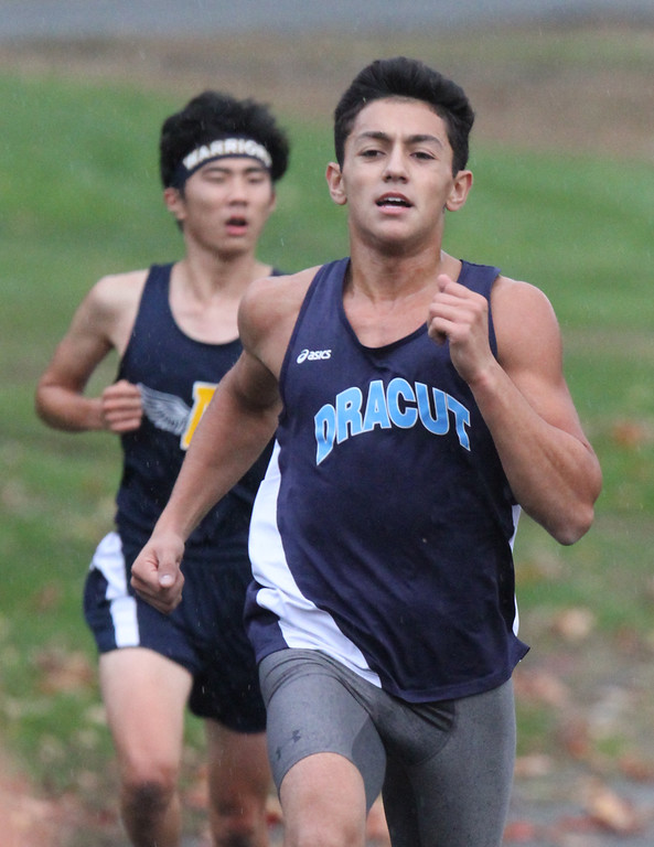 . Lowell, Dracut & Andover cross country. Patrick Pinto of Dracut (17th overall, and second Dracut finisher). (SUN/Julia Malakie)