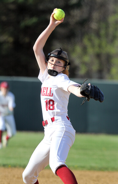 Lowell vs Dracut softball. Lowell pitcher Giana LaCedra.  (SUN/Julia Malakie)