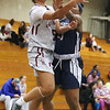 Lowell vs Lawrence girls basketball. Lowell's Shyan Mwai (5) and Jasmine Mejia (23). (SUN/Julia Malakie)