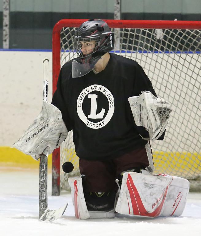 . Lowell High hockey goalie Andrew Carrabis, 16, a junior, at practice.  (SUN/Julia Malakie)