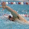 Lowell vs Andover boys high school swimming. Lowell's Lucas Petruzziello in 100 Freestyle. (SUN/Julia Malakie)