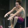 Lowell vs Andover boys high school swimming. Lowell's Will Cassella in diving. (SUN/Julia Malakie)