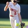 Lowell vs Boston Latin softball in MIAA tournament. Lowell pitcher Giana Lacedra (18) in top of seventh. (SUN/Julia Malakie)