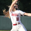 Lowell vs Boston Latin softball in MIAA tournament. Lowell pitcher Giana Lacedra (18). (SUN/Julia Malakie)